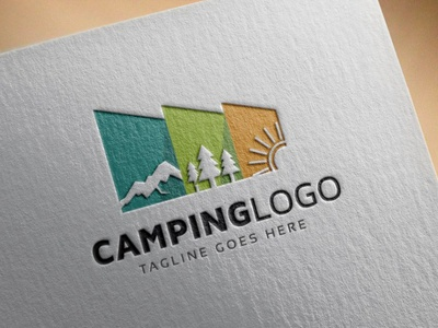 Camping Logo set retro outdoor nature mountain logo label illustration icon hiking graphic forest exploration expedition emblem design camping camp badge adventure