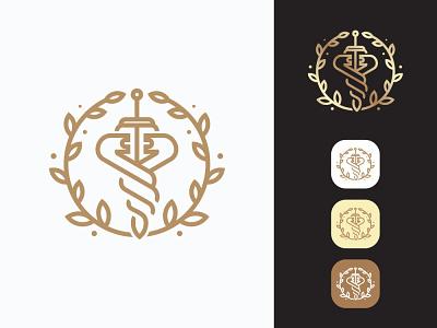 Sword Caduceus Logo travelers symbol staff snake side shipping retro messenger mercury medicine man male logo illustration holding graphics caduceus artwork