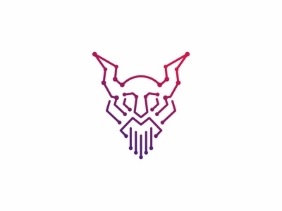 Viking Tech Logo medieval mascot man logo label knight identity icon horn helmet head face emblem design beard battle barbarian armor branding business