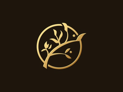 Golden Branch Logo tree science roots recycling protection organic nature life leaves landscape fresh environment earth cycle corporate business