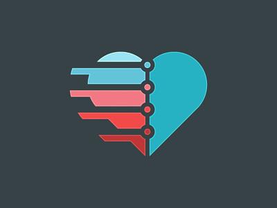 Digital Heart Logo media matching match marriage loving love like heart healthy health girlfriend experience doctor digital couple caring care branding brand boyfriend