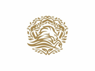 Horse Shield Logo powerpoint power military luxury king insurance horse guard grand gold force finance crown corona company classic business branding brand army
