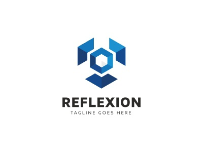Reflexion Hexagon Logo cubical cubic cube creative creation consultant construction builder brand box block abstract