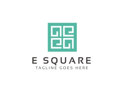 E Square Logo square simple round red modern marketing letter identity graphic financial ecommerce e letter corporate company clever clean business branding brand blue