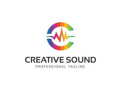 Creative Sound - C Letter Logo record label radio production producer nightclub music mp concert media loudspeaker label headphones equalizer entertainment dj logo template digital chat blog beats audiotech audio