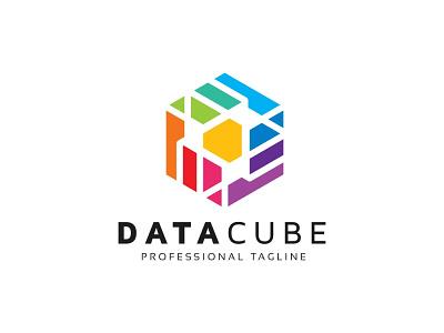 Data Cube Logo matrix idea hexagonal hexagon entertainment dimension development data cubical cubic cube creativity creative creation corporate colorful builder branding brainstorm box