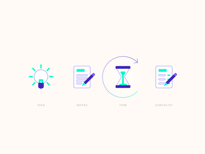 Ideation Process Icons time thinking repetition notes notebook note ideation ideas idea hourglass checklist