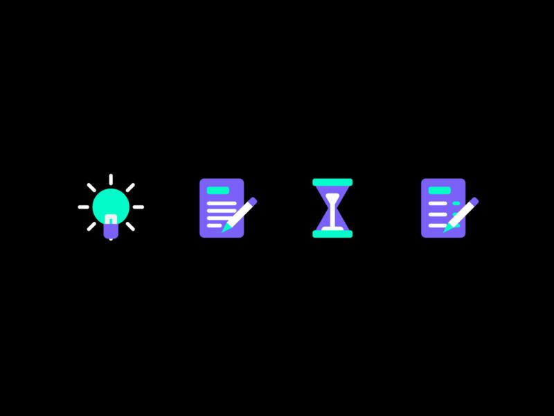 Icon Set 2 set icons icon pencil hourglass time sandglass clock 2 do task checklist notes spark lightbulb light idea concept