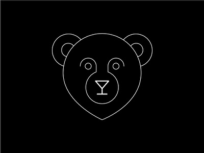 Bear's Cocktail Bar fun bear icon cocktail drink bar animal geometric symmetrical logo illustration