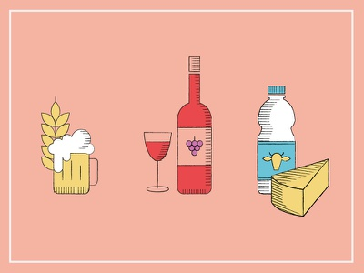 Icons icons food drink wine illustration texture beer wheat dairy milk cheese agricultural