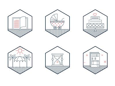 Milestone Icons milestone education childbirth marriage retirement life expectancy financial planning money icons illustrations