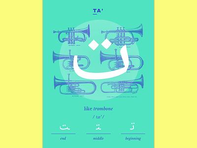 Ta' language calligraphy illustration learning card letter arabic