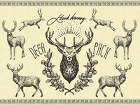 DEER VINTAGE hand drawing vector