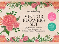 Vintage Flower Vector Set
