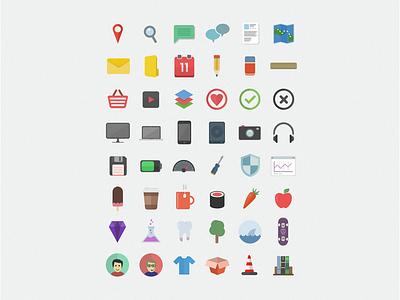 Flatilicious - 48 Free Flat Icons flat icons freebie design psd vector psddd