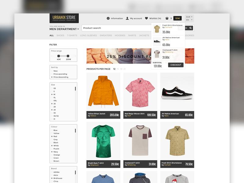 Urbanix Store - Fresh Eshop Template ecommerce template webdesign ui ux clean modern category product homepage listing shop