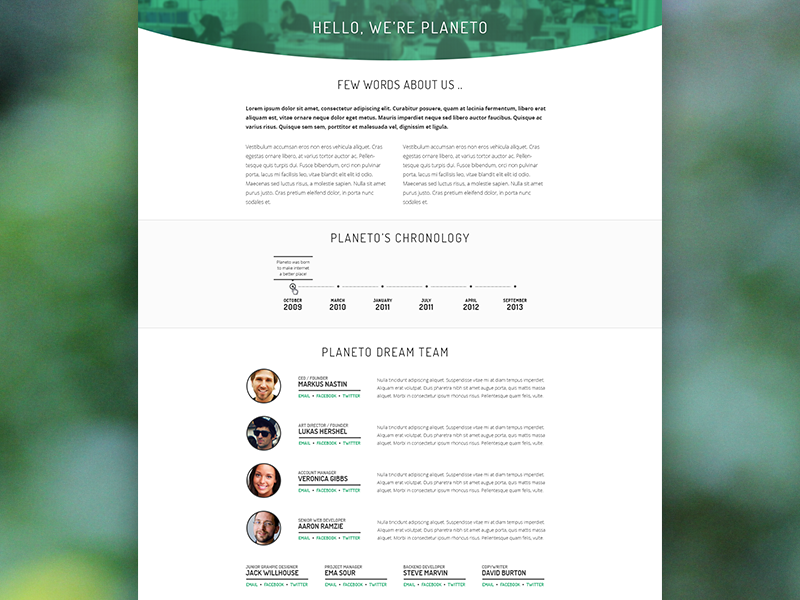 About us page profile team page about creative agency modern