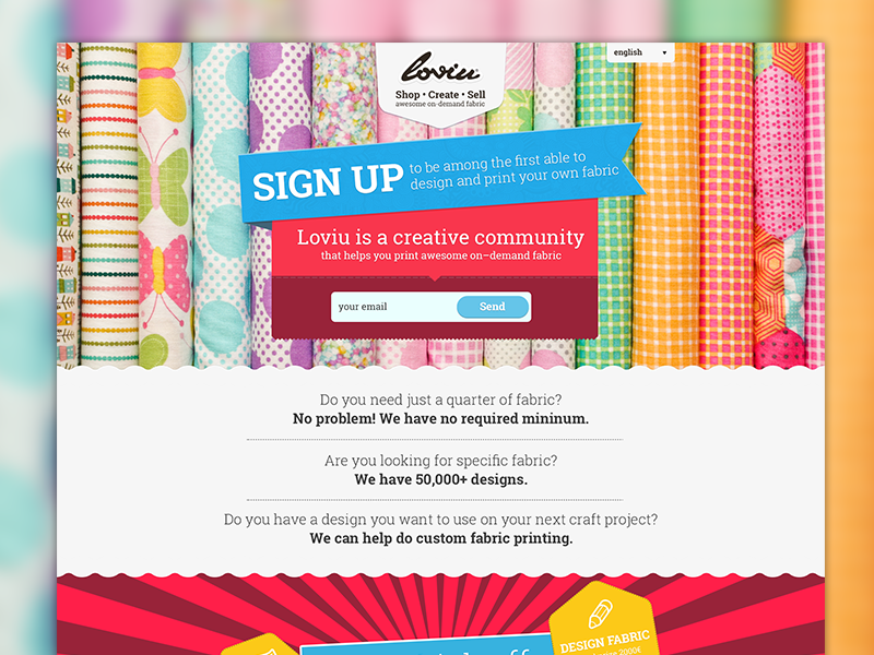 Loviu.com - Splash page splash homepage webdesign fabric design creative