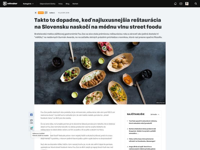 refresher.sk desktop article page webdesign magazine refresher ux design ui article design article