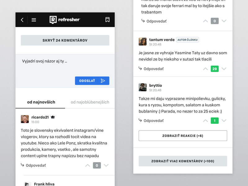 refresher discussion mobile refresher magazine clean minimal comments discussion ui