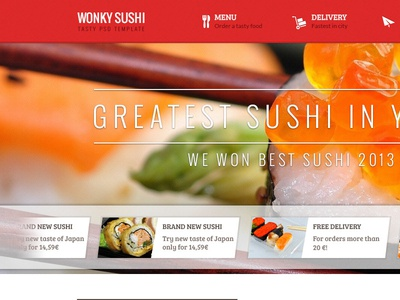Wonky Sushi Tasty PSD Template