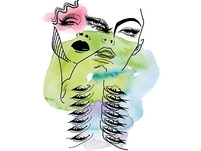 Fashion Portraits composition hair face lips eye sensuality beauty fashion girl woman portrait watercolor