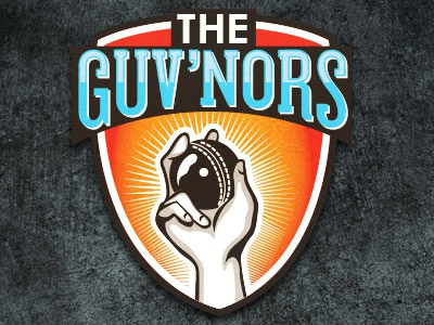 Cricket Logo play logo guvnors cricket sports branding ball hand