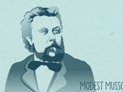 Modest Portrait music composer portrait vector illustration