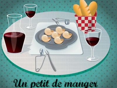 Snails baguette food wine french france travel