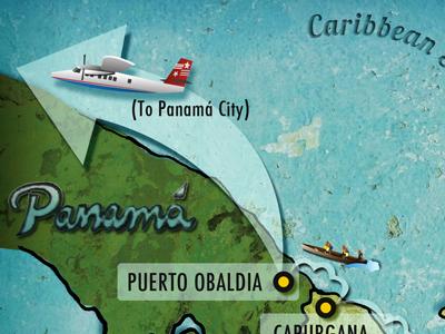 Illustrated Map map plane panama caribbean sea columbia info graphic