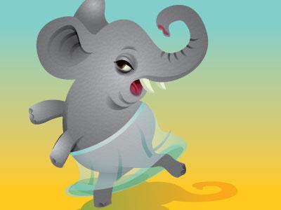 Elephant Ballerina elephant childrens vector illustration