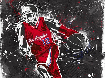 Los Angeles Clippers - Rareink NBA posters sports basketball nba art clippers los angeles paint digital illustration