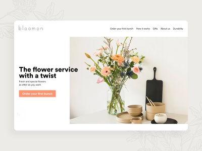 Bloomon - Florist Shop 💐 flower illustration redesign concept redesign ui design minimal concept website feminine ecommerce design ecommerce shop flowershop flowers flower florist bloomon