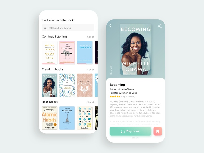 Audio Books App ui trending titles social app reviews reading app read michelle obama genres bookshelf book cover book app biography best sellers becoming authors audiobooks audiobook audio app app design