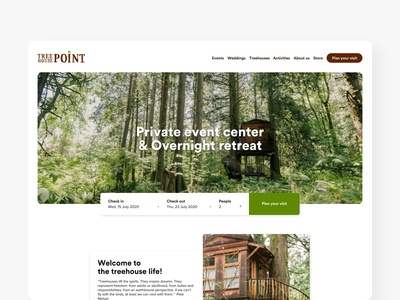 Treehouse Point Homepage design web design redesign concept redesign minimal concept animal planet nelson treehouse trees uidesign ui homepage treehouse point treehouse