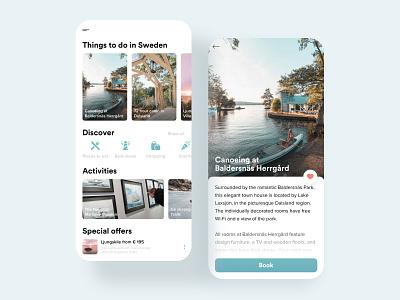 Visit Sweden 🇸🇪 traveling travel app mobile app design mobile icons discover special offer activities booking book modern travel minimal stockholm sweden