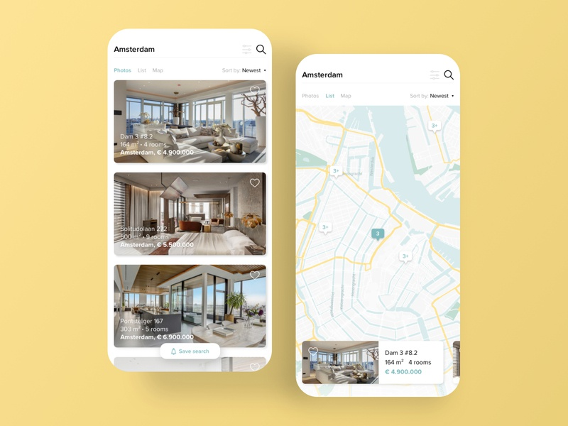 Real Estate Agency search filter amsterdam social ui design concept minimal favorite save slider living houses house map real estate agency real estate