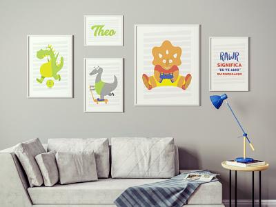 Quadro Theo kids art dinosaurs caracter vector illustrator
