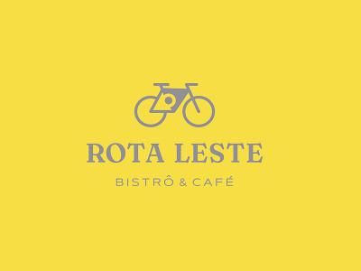 Rota Leste compass location bicycle bsb sunset bike logo brand identity cofee bistro