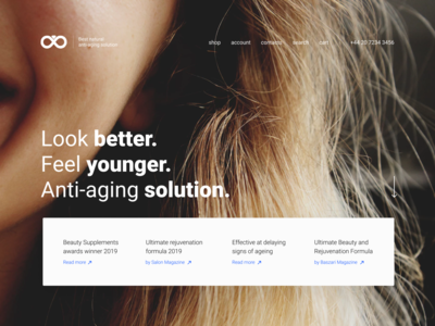 Hero section of anti-aging solution website