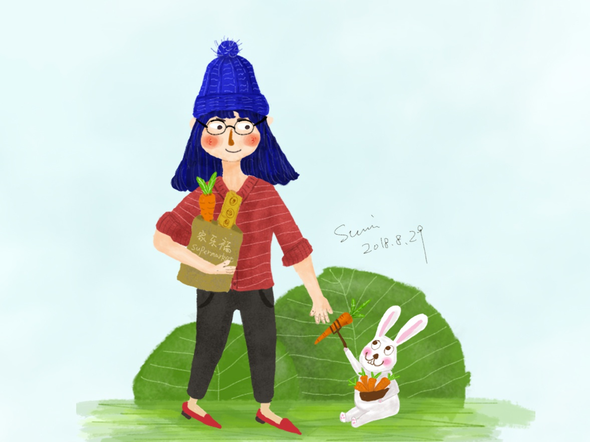 Girls and rabbits illustration
