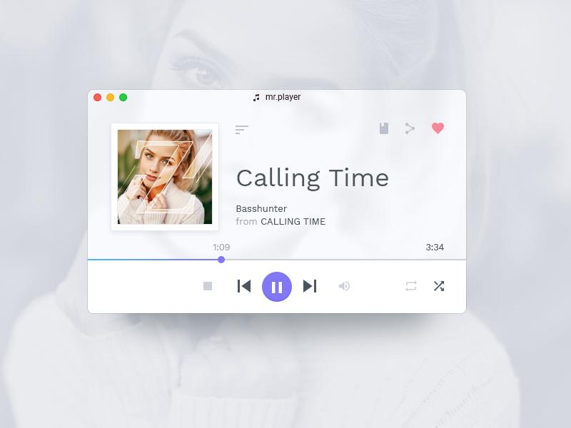 Mr. Player App web user ui application material interface crystal flat widget playlist player music