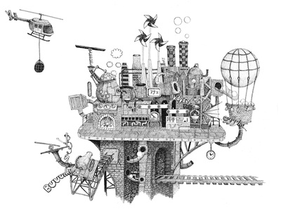 Crazy factory illustration. factory. pen. bw. helicopter. ballon drawing