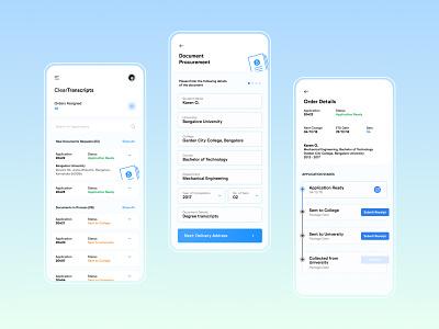 ClearTranscripts - Document Procurement App mobile app mobile ui app app design userinterface userexperience uxui ui transcripts procurement ux document design