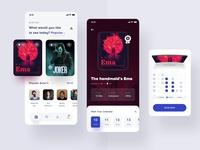 Prandana Movie app app mockup ticket android blue red movie poster desktop apps website mobile dashboard interface designer smooth design actors star movie