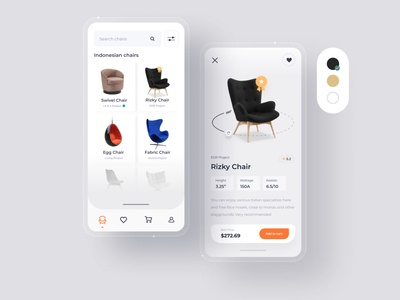 Chairs apps - Interface Explore explore ui android @daily-ui dribbble apps clean website mobile dashboard interface designer smooth minimalist design