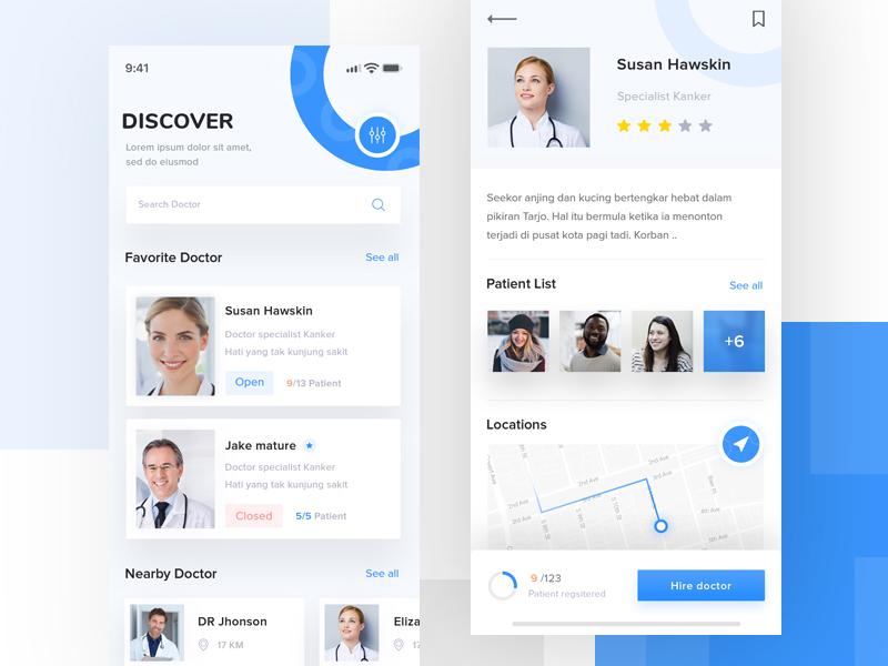 Finding Doctor apps trending theme minimalist dribbble mobile designer design iphone white healthy gradient blue