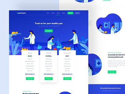 Pet Hospital - Pricing Page typography desktop illustration website page landing pricing plans dashboard interface smooth user dribbble clean designer minimalist design