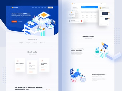 Livechat landing page web white dribbble chatting live chat logo ux page ui desktop apps landing website mobile dashboard smooth interface minimalist clean design