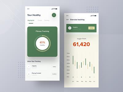 Tracking Fitness app illustration white page interface smooth user ui desktop apps dashboard landing mobile website minimalist clean designer design sport app jogging fitness app
